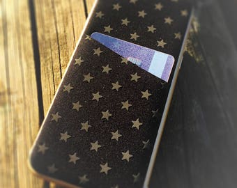 Neoprene Smartphone Wallet Case Skin for iPhone 6/6s, iPhone Card Holder, iPhone Sticker, iPhone Decal, iPhone Wrap, Fabric Jacket Star Blac