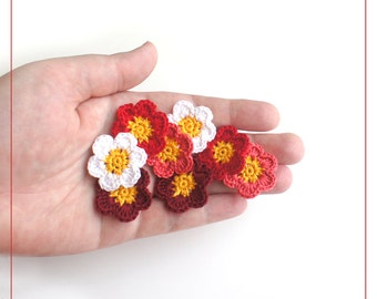Crochet Applique Flowers red-pink (set of 8), crocheted flowers for scrapbooking, crochet small flowers