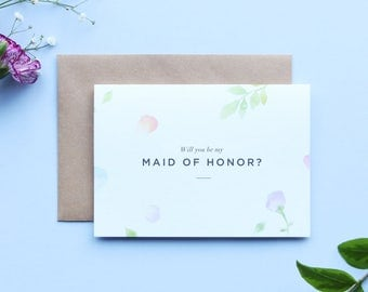 Will you be my Maid of Honor Card/Amelia Maid of Honor Card/Maid of Honor/Floral Maid of Honor Card/Watercolour Maid of Honor Card