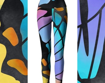 Butterfly Leggings, Butterfly Yoga Pants, Eco Friendly Workout Pants, High Waisted Leggings, Workout Pants, Colorful Leggings, Funky