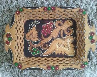 Romanian Rustic Hand Carved Wooden tray with handles