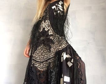 heavy fringed formal evening cut out lace gown dress----s/m