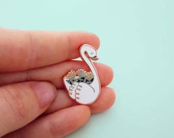 rose gold SWAN PLANTER hard enamel pin | Lapel pin | vintage inspired swanplanter | swan pin