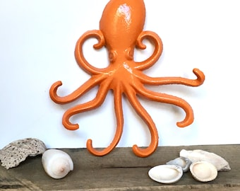 Octopus Necklace Hooks - Choose Your Color - Wall Necklace Holder - Octopus Bathroom Decor - Wall Jewelry Hooks - Steampunk Octopus Decor