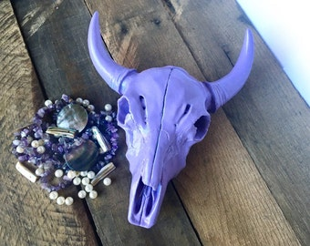 Lavender Faux Cow Skull - Faux Taxidermy Head - Cow Skull Decor - Bohemian Bedroom Decor - Bison Skull - Gypsy Boho Decor - Longhorn Skull