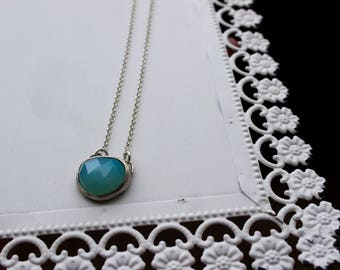 Aqua blue Chalcedony silver pendant necklace
