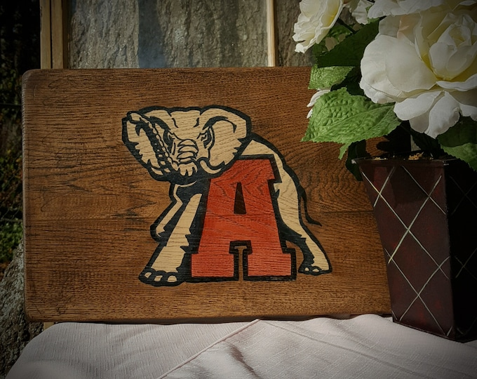 University of Alabama, Crimson Tide, Roll Tide, Stained Wood Sign, Hickory Wood, Roll Tide, Alabama, Fan Cave, Man Cave, Gift for Him