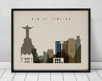 Rio De Janeiro art print, Travel, Poster, Wall art, Rio De Janeiro Brazil skyline, City prints, Home Decor, Gift, Wall decor, ArtPrintsVicky