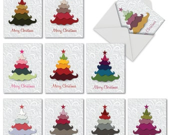 M2939XSGsl Holiday Hues: 10 Assorted Christmas Cards Featuring Christmas Tree Image in Non-Traditional Holiday Colors, w/White Envelopes.