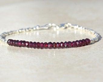 Garnet Bracelet, January Birthstone Bracelet, Beaded Bracelet, Red Gemstone Bracelet, Delicate Stacking Bracelet, Dainty Layering Bracelet