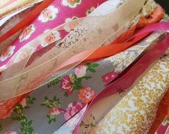 Garland/ Fabric Garland/ Scrappy Garland/ Scrappy Fabric Garland/ Roses/Wall Hanging/ Home Decor