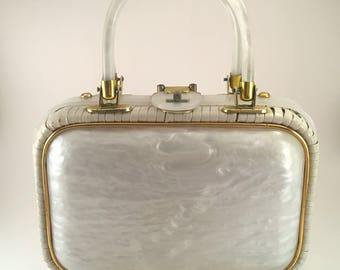 Vintage White Wicker Purse Lucite Handles and Panel by Hand-Made in British Hong Kong Mother of Pearl