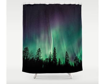 Shower Curtain, Bathroom Decor, Aurora Borealis, Northern Lights, Wanderlust Themed, Bohemian Decor, Nature Decor, Wanderlust Decor