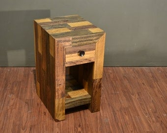 Rustic Solid Wood Narrow Side Table with drawer and bottom shelf / Reclaimed Wood Nightstand