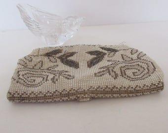 Vintage Beaded Purse, Deco Purse, 1930's Beaded Bag, Bridal Purse, Vintage Purse