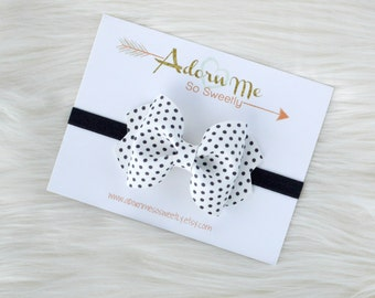 White and Black Polka Dot Faux Leather Bow // 3 sizes // headband or clip
