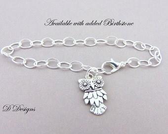 Owl Bracelet, Owl Charm Bracelet, Charm Bracelet, Silver Owl Bracelet, Trendy Bracelet, Gifts for Teenagers