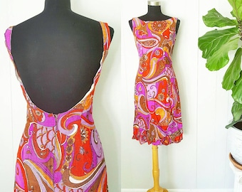 60s Psychedelic Purple and Orange Dress with Low Back
