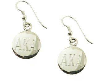 925 Sterling Silver Round Monogrammed Greek Sorority Letters Earrings