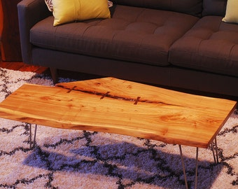 Live edge slab - coffee table - Elm - Reclaimed / salvaged wood