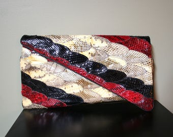 Vintage Snake Skin Clutch - Creations by Lama