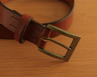 Leather Belt Hand Stitched