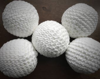 Dryer Balls Scented with Pure Essential Oils, 5 Dryer Balls w Bottle of Essential Oil, Naturally Soften, Crocheted Cotton Balls, No Filler