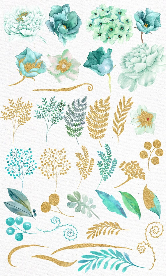 "Gold Mint flowers clipart: ""WATERCOLOR FLOWERS"" Wedding ..."