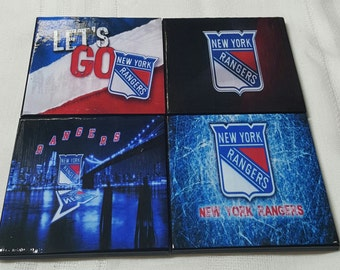 NY Rangers Ceramic Tile Drink Coasters / NY Rangers Coaster Set