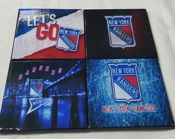 NY Rangers Ceramic Tile Drink Coasters / NY Rangers Coaster Set