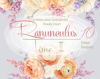 Watercolour Hand painted Clipart, Ranunculus bouquets, Orange and lilac flower, Wedding invitation, DIY, greeting card, PNG, Scrapbooking