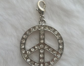 Rhinestone Peace Pendant - Clip-On - Ready to Wear