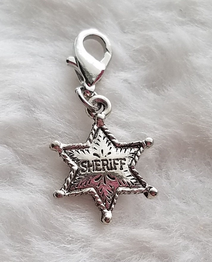 Sheriff S Badge Pewter Charm Clip On Ready To Wear