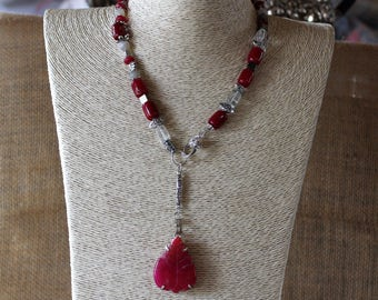 Y necklace, ruby red necklace, beaded necklace, lariat necklace, silver necklace