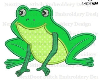Frog embroidery design, frogs embroidery applique file, frog-008