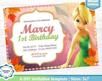 Tinkerbell Invitation Instant Download DIY PDF
