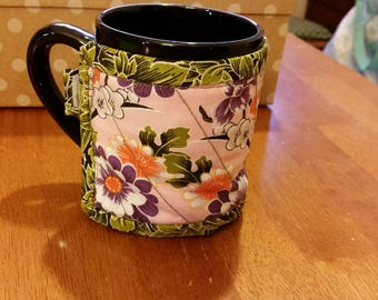 Quilted Coffee Cup Cozy / Sleeve - Purple, Pink, Orange and Green Floral Print