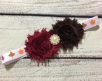 Fall Baby Headband ~Brown /Burgundy Baby Headband ~Thanksgiving Baby Headband ~Flowers /Leaves Baby Headband ~Shabby Chic Headband