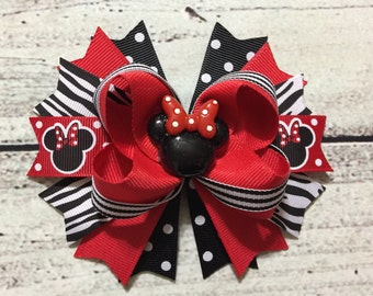 Red And Black Minnie Mouse Stacked Hair Bow , Minnie Mouse Hair Bow , Minnie Mouse Boutique Hair Bow , Girl Hair Bow
