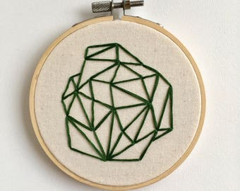 Small Green Abstract  Geometric Hand Embroidery