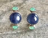 Kyanite Earrings Chrysoprase Earrings Natural Chrysoprase Statement Earrings Real Chrysoprase Healing Stones Solid Silver Chrysoprase