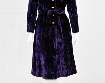 1960's Vintage Women's L Sears Deep Purple Crushed Velvet Long Princess Coat