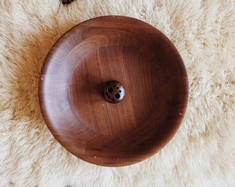 Walnut Vermillion Nut Bowl, mid century modern wood nut bowl