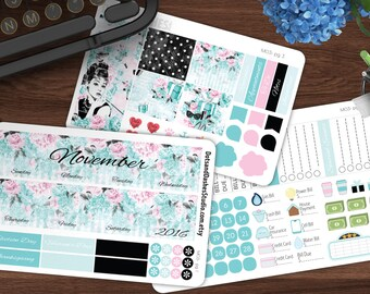 MO3, Breakfast at Tiffany's month overview kit, vertical planner month overview, overview kit, planner month view stickers, planner stickers