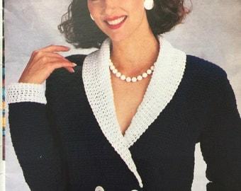 1991 PDF vintage crochet blazer pattern , vintage crochet jacket pattern