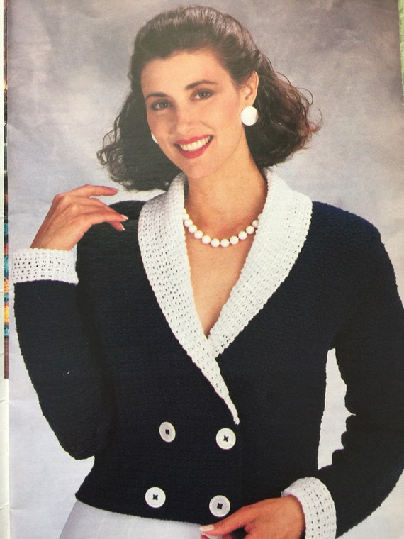 Pdf download vintage crochet jacket pattern, crochet jacket pattern, crochet blazer pattern