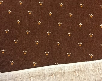 Dark Brown Calico Fabric. FQ. Brown Quilting Cotton. Brown Floral Fabric.