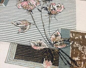 Floral Fabric Barkcloth. Vintage Barkcloth Remnant. 1950-60s. Vintage Barkcloth Drapes. Vintage Floral Fabric. Vintage Rose Fabric.