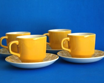 Crown Lynn Joanne Gold D434 Teacups & Saucers - Genuine Ironstone Canary Yellow Flower Power Tea Cups - Set of Four - Made in New Zealand