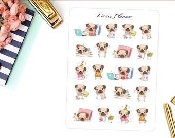 Cute Pugs Decorative Sticker (matte planner sticker, clipart, Erin Condren, Happy Planner, Filofax, Kikki K)